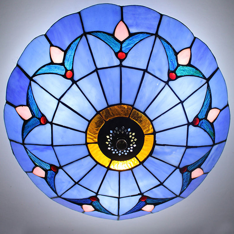 Blue Handcrafted Moroccan Tiffany Stained Glass Flush Mount Ceiling Light Fixture