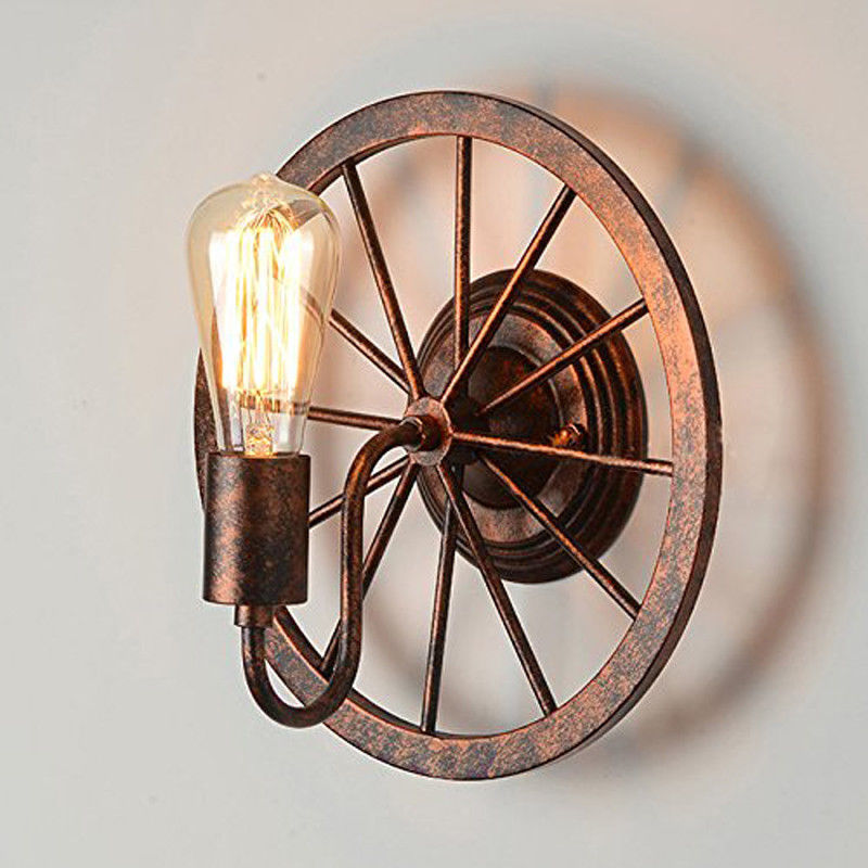 Retro Loft Wall Lamp Rustic Iron Wheel Shape Barn Wall Sconce