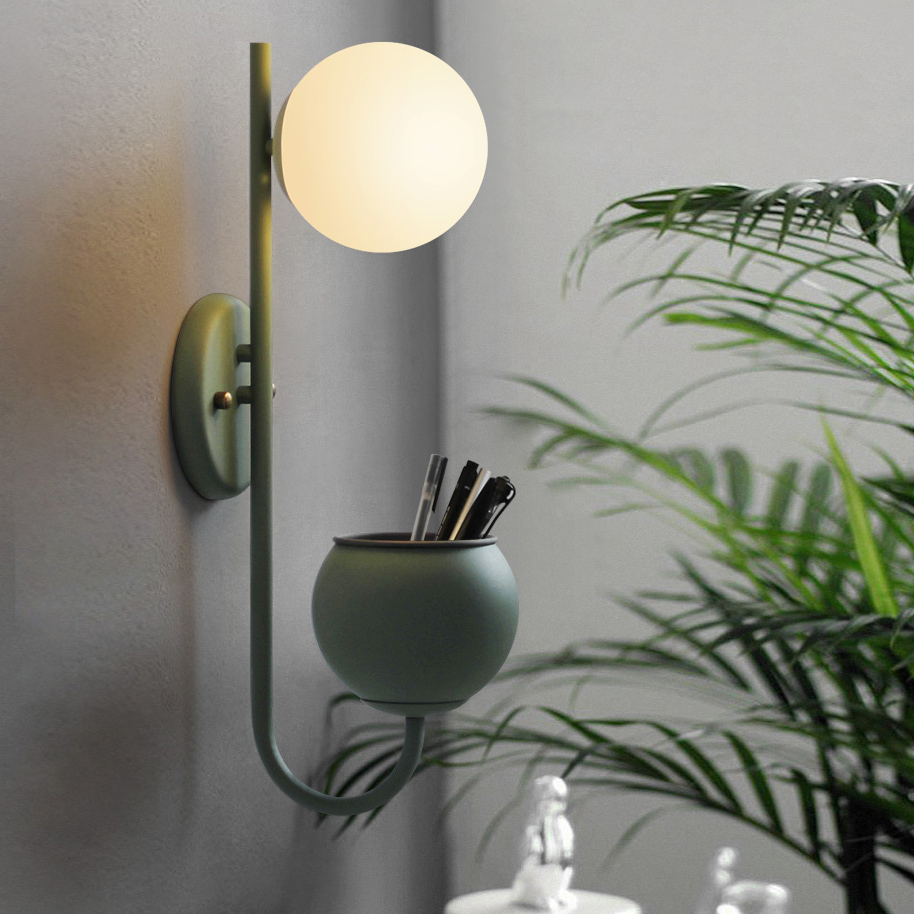 Chic 1 Light Wall Sconce with Opal Globe Shade