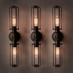 Industrial Retro 2-Light Double Head Mini Long Cage Shade Metal Wall Sconce