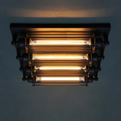 4-lights Industrial Steampunk Flush Mount Ceiling Light Vintage Loft Ceiling Lamp