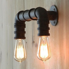 2 Lights Vintage Industrial Water Pipe Retro Wall Lamp Sconce Lighting Fixture