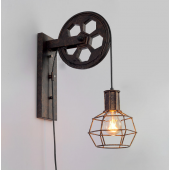 Industrial Retro Wall Lamp Single Head Wall Light Lift Pulley Aisle Lighting Black/Bronze