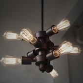 9-Light Vintage Industrial Rustic Metal Pendant Ceiling Light Bar Cafe Edison