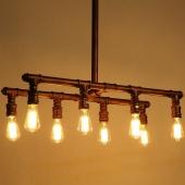 8-Light Industrial Pipe Pendant Lighting Vintage Ceiling Light Fixture