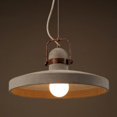 Concrete Plate Light With Rustic Metal Band