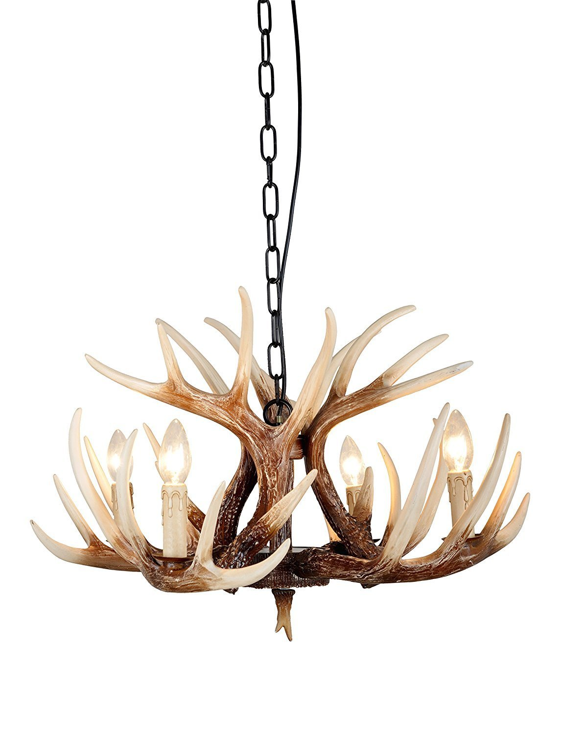 Vintage Style Resin Deer Horn Antler Chandeliers,4 Lights