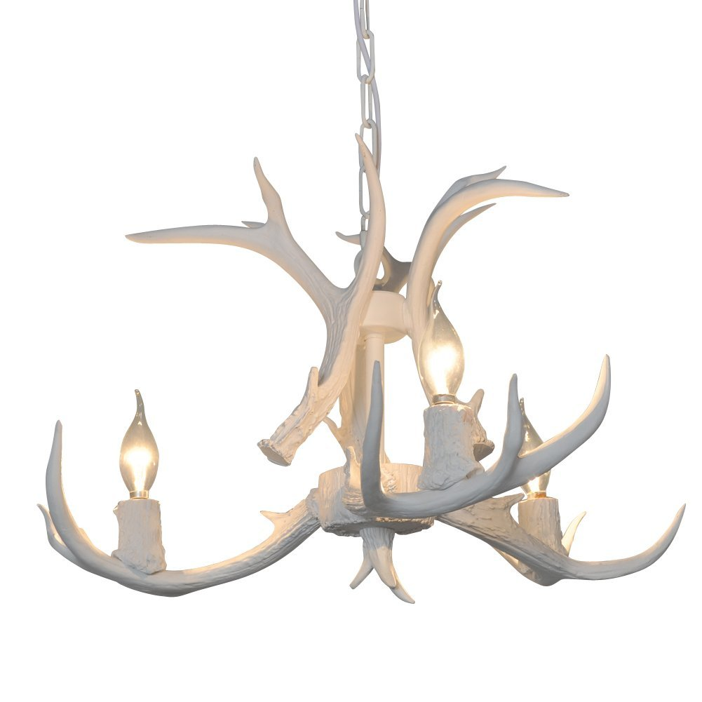 Deer Horn E12 BUlb 3-Light Iron Resin Industrial Retro Chandelier White