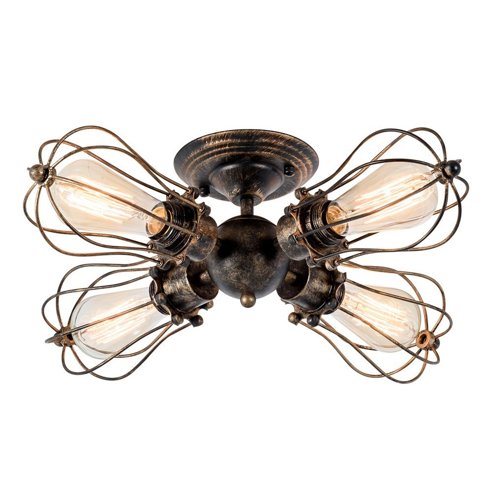 4-Light Vintage Industrial Iron Semi-Flush Mount Ceiling Light Painted Finish Bronze