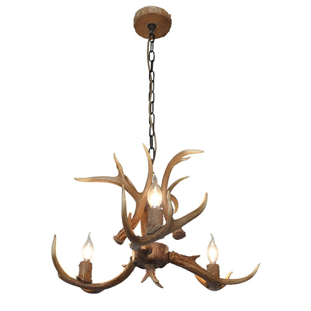 Deer Horn E12 BUlb 3-Light Iron Resin Industrial Retro Chandelier Coffee