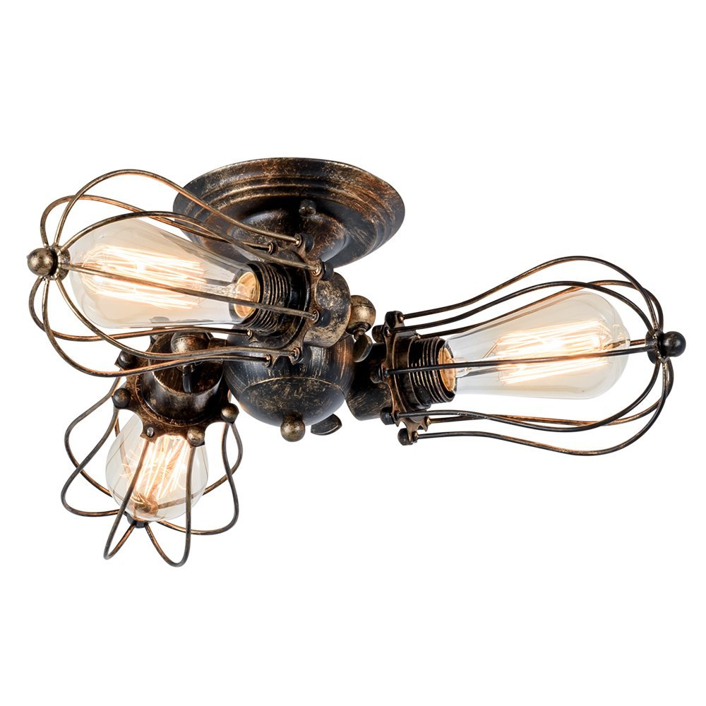 3-Light Vintage Industrial Semi-Flush Mount Ceiling Light Painted Finish Bronze