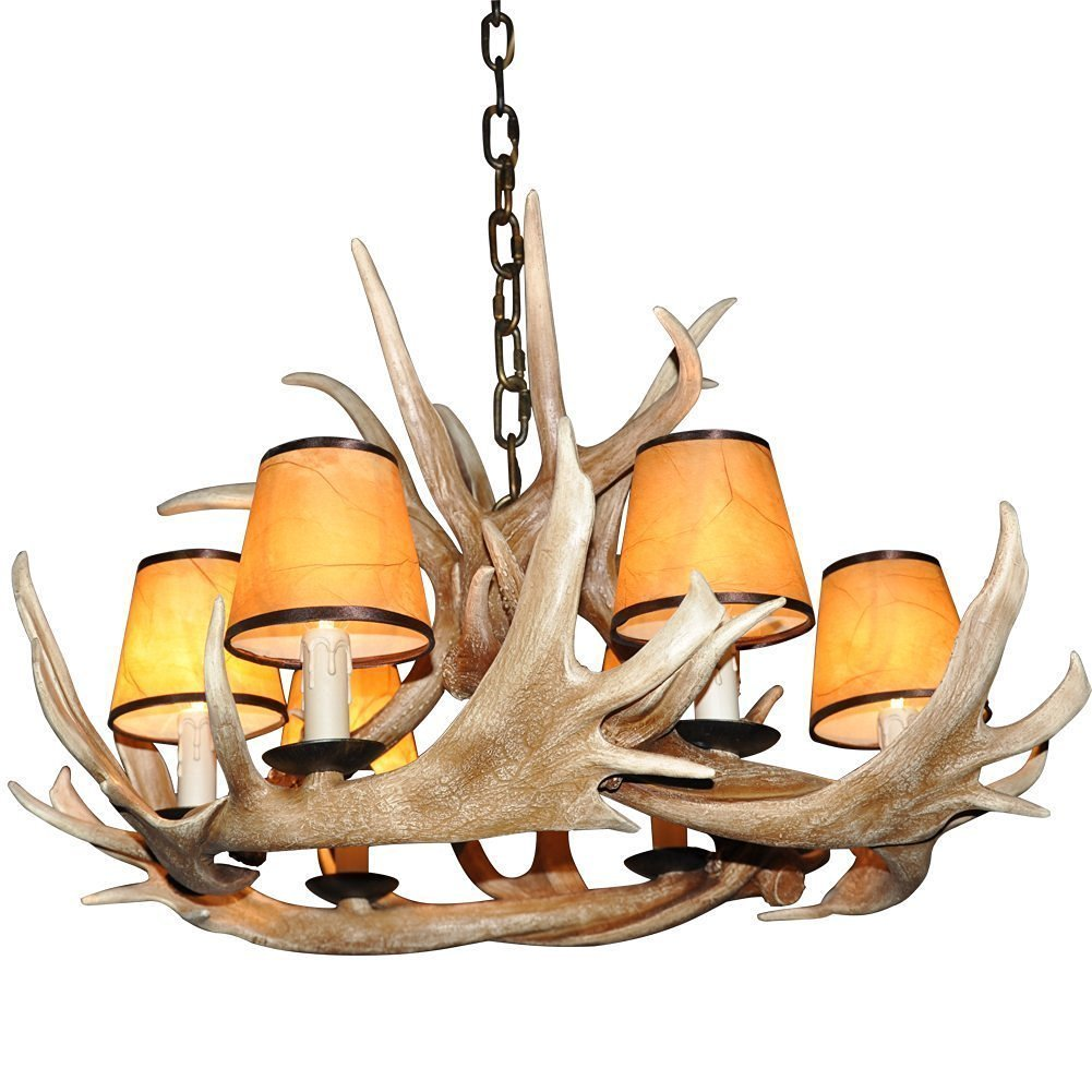 Deer Horn E12 BUlb 6-Light Iron Resin Retro Chandelier Lampshade Coffee
