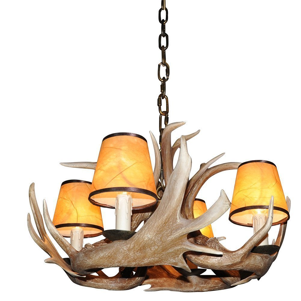 Deer Horn E12 BUlb 4-Light Iron Resin Retro Droplight Chandelier Lampshade Coffee