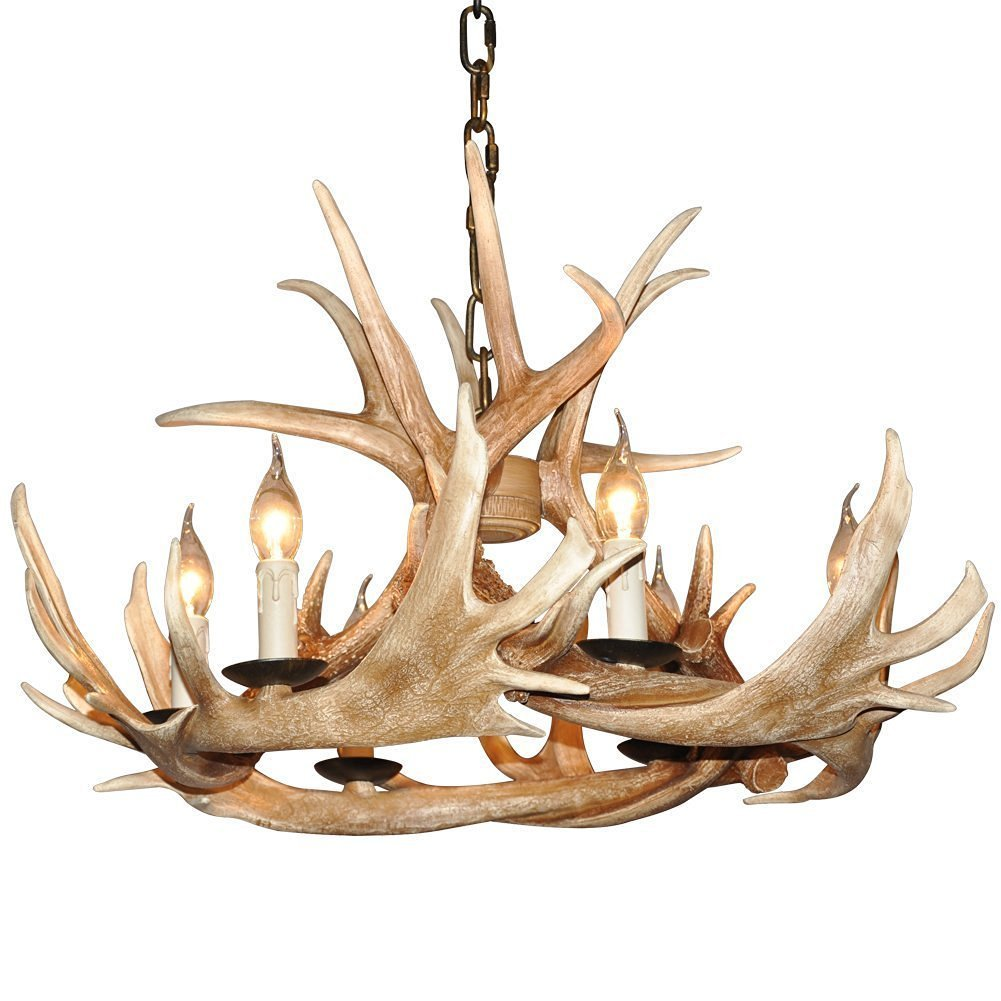 Deer Horn E12 BUlb 6-Light Iron Resin Retro Chandelier Coffee