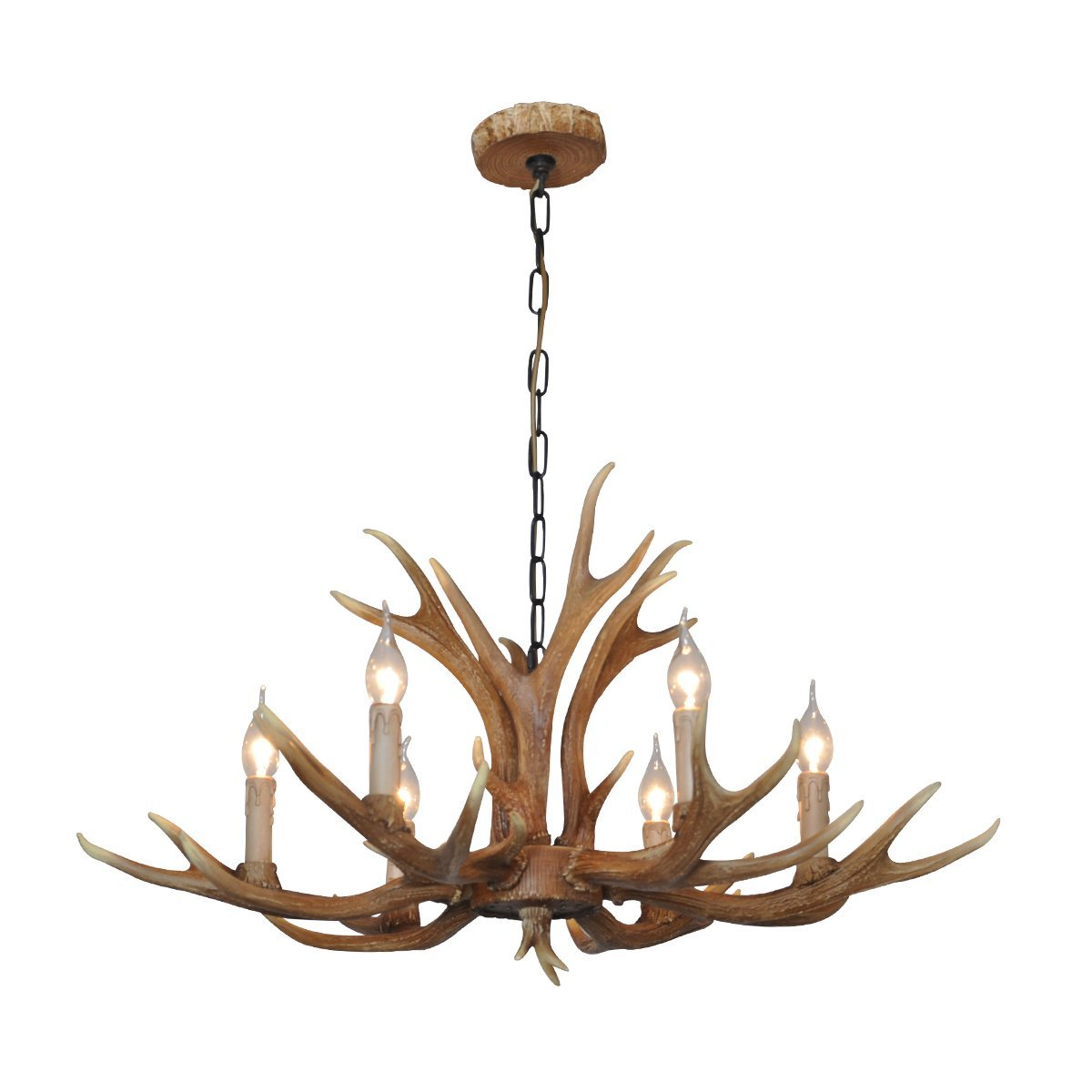 Deer Horn E12 BUlb 6-Light Iron Resin Industrial Retro Droplight Chandelier Coffee
