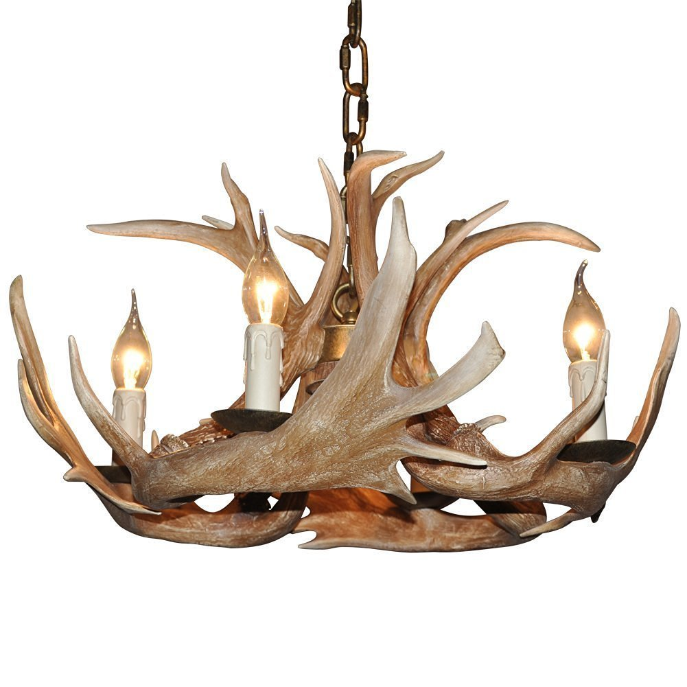 Deer Horn E12 BUlb 4-Light Iron Resin Retro Chandelier Coffee 1005C-4