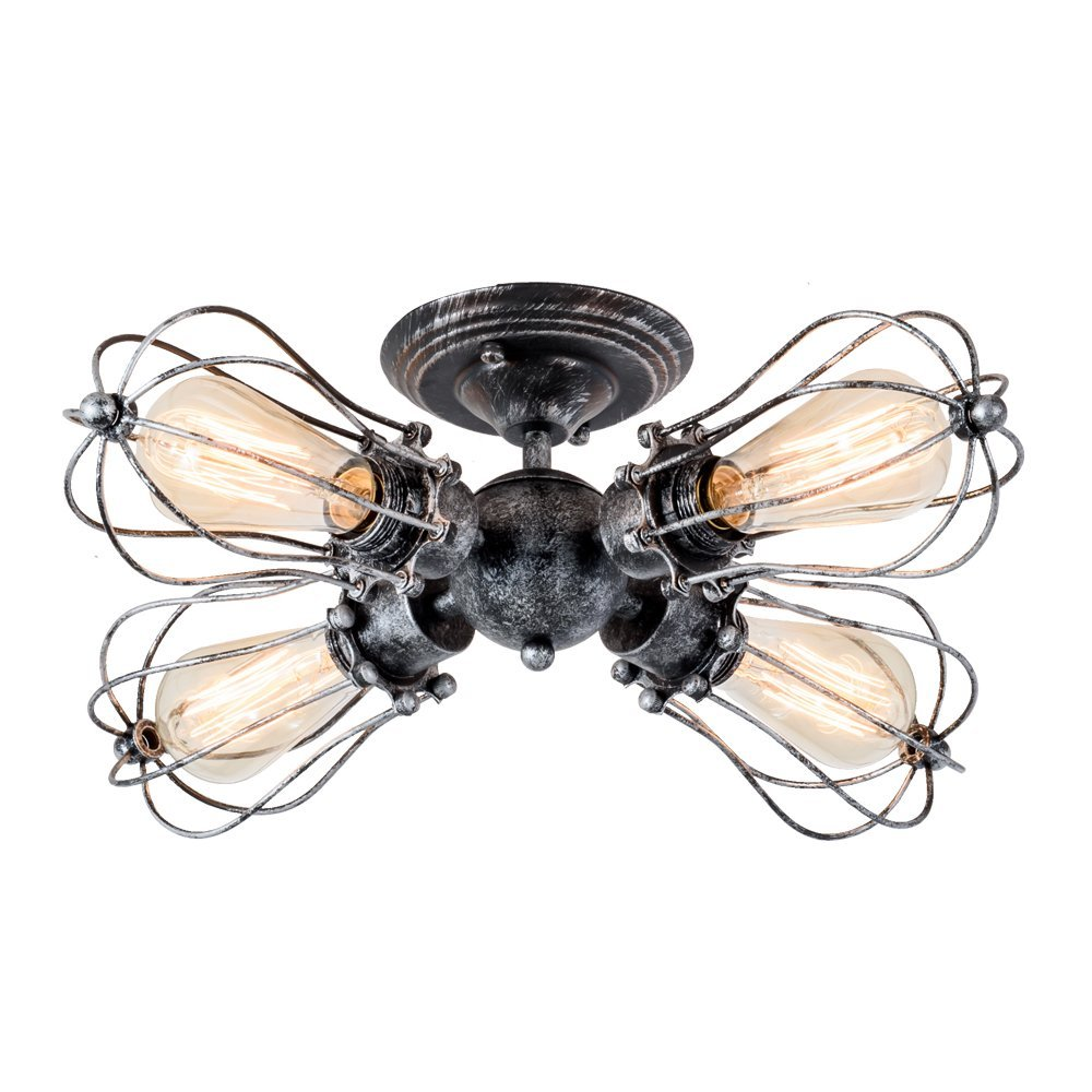 4-Light Vintage Industrial Iron Semi-Flush Mount Ceiling Light Painted Finish Silver
