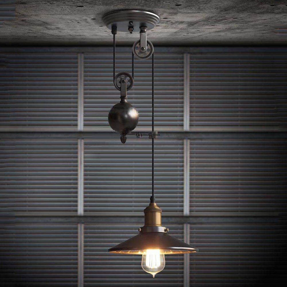 1-Light Industrial Mirror Iron Retro Ceiling Pendant Light Adjustable