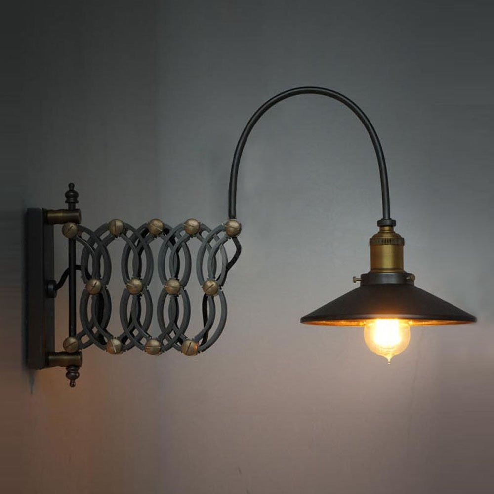 Industrial Look Scissor Extendable Accordion Wall Sconces Loft Style