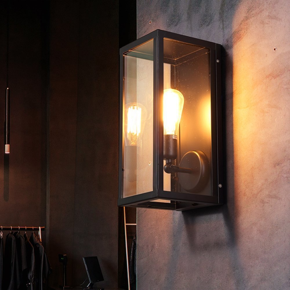 Antique Clear Glass Shade Rectangle Industrial Wall Sconces