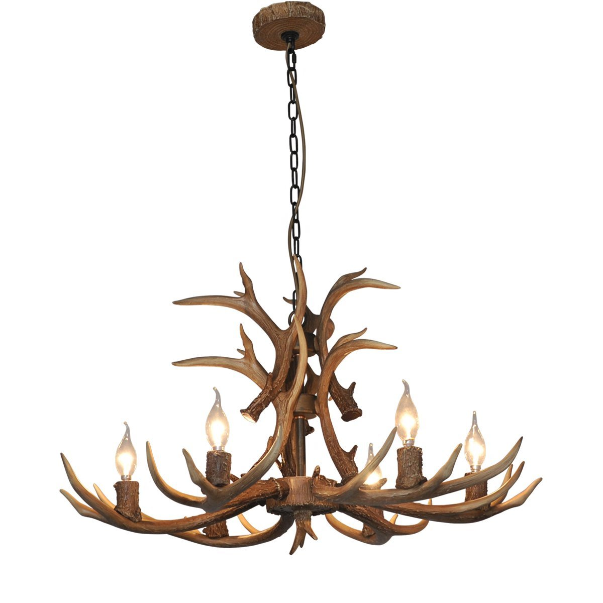 Deer Horn E12 BUlb 6-Light Iron Resin Industrial Retro Chandelier Coffee