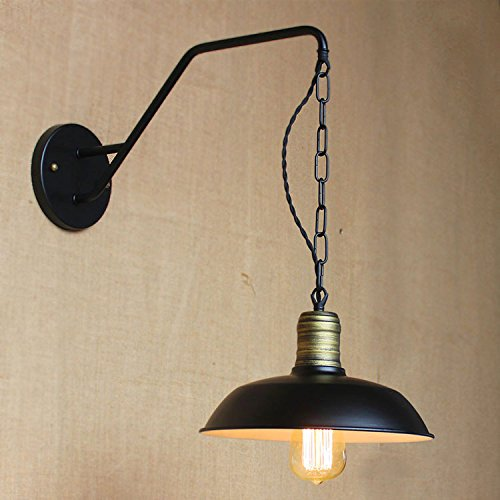 Goosenack Small Hanging Barn Wall Sconce in Pewter Finish with a Chain