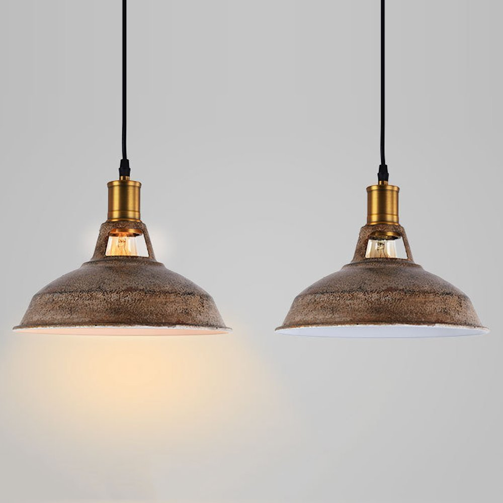 Adjustable 10.6 Inches Industrial Simplicity Barn Pendant Light Old Bronz Rustic