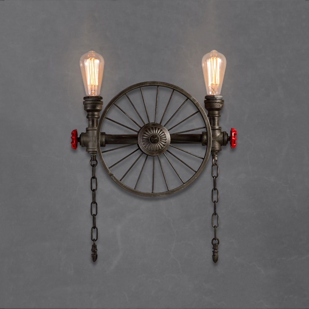 Retro Industrial Iron Craft Vehicle Wheel Water Pipe Wall Lamp Double heads