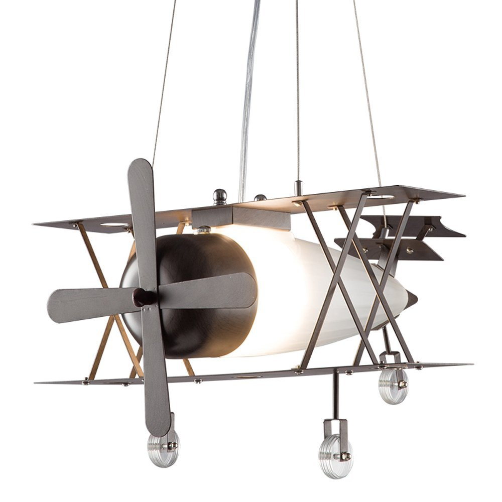 American Retro Industrial Aircraft Fighter Pendant Lamp Creative Personality Children's Room Iron Frosted Chandelier
