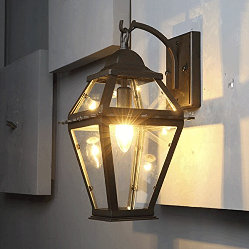 Industrial Retro Vintage Black 1-Light Outdoor Wall light Wall Sconce with Clear Glass Shade