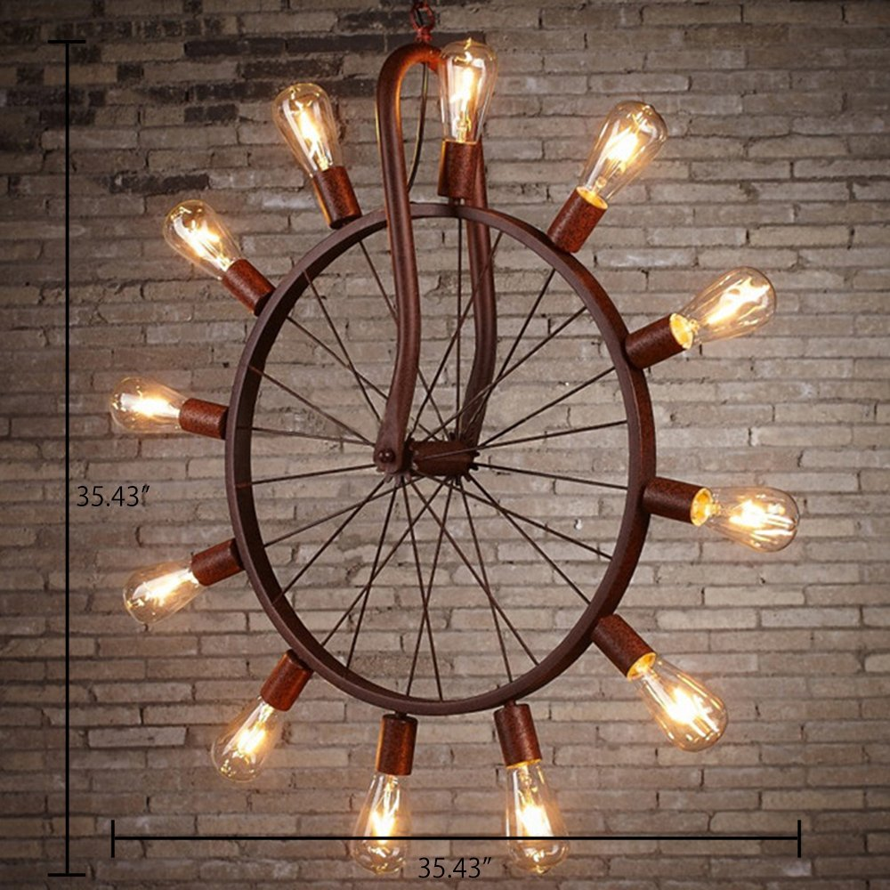 Industrial Vintage Light Chandelier Aged Copper 12 Lights In Wheel Shape