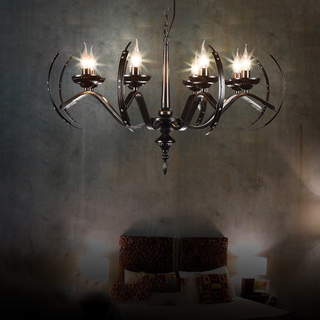 Retro Restaurant American Iron Chandelier Creative Candle 6-heads