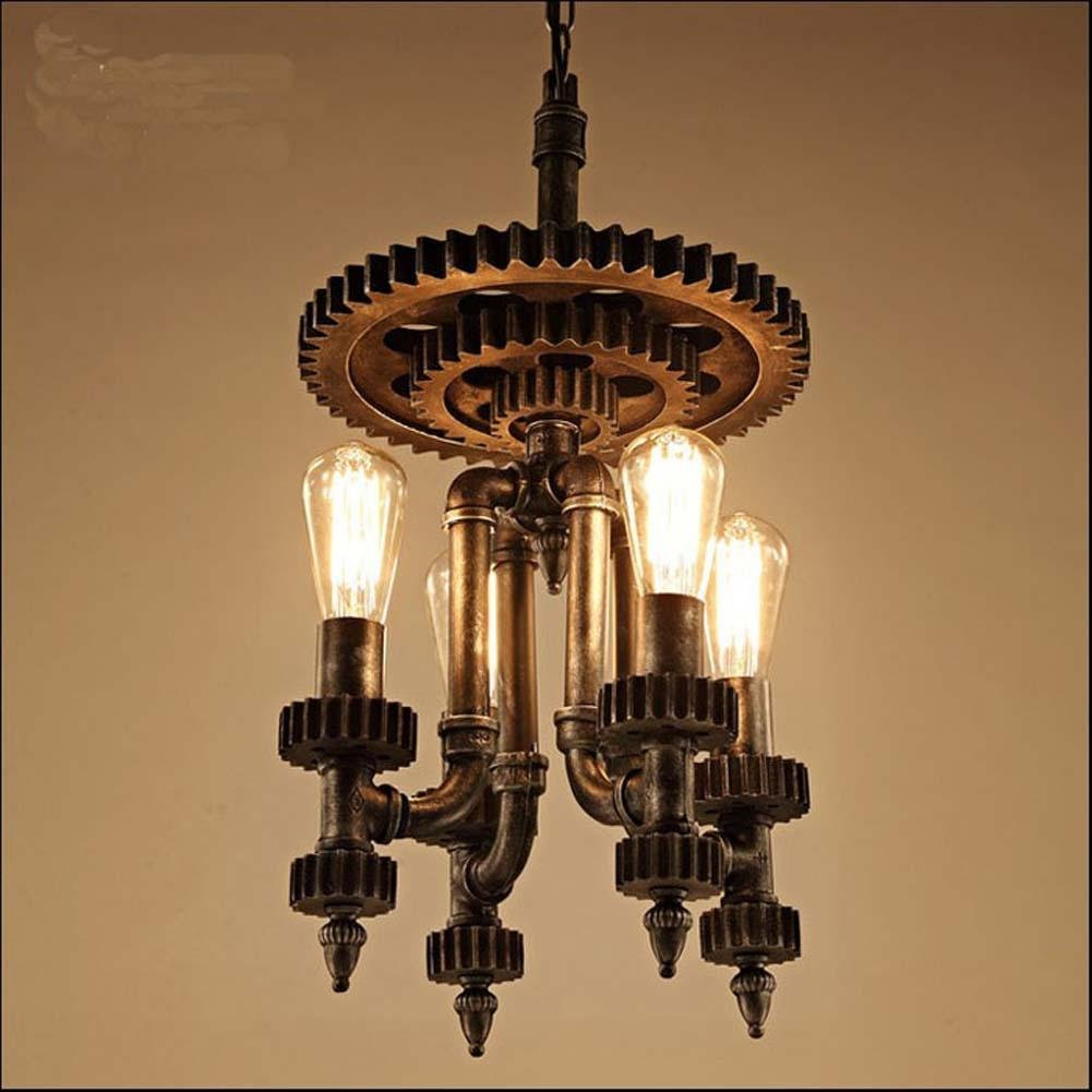 Retro Hemp Rope American Industrial Wind Aisle Gear Iron Chandelier