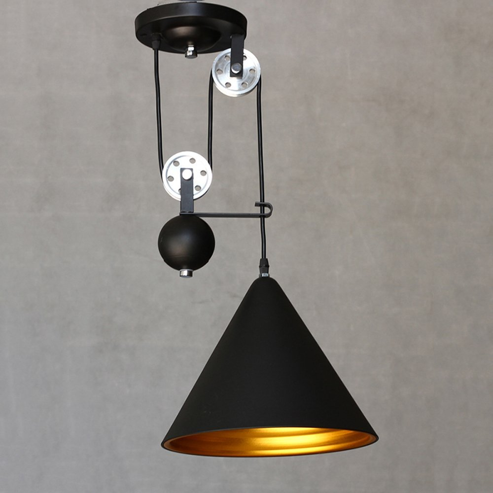 Loft Industrial Pulley Pendant Light with Black Cone Shade Extendable Wire