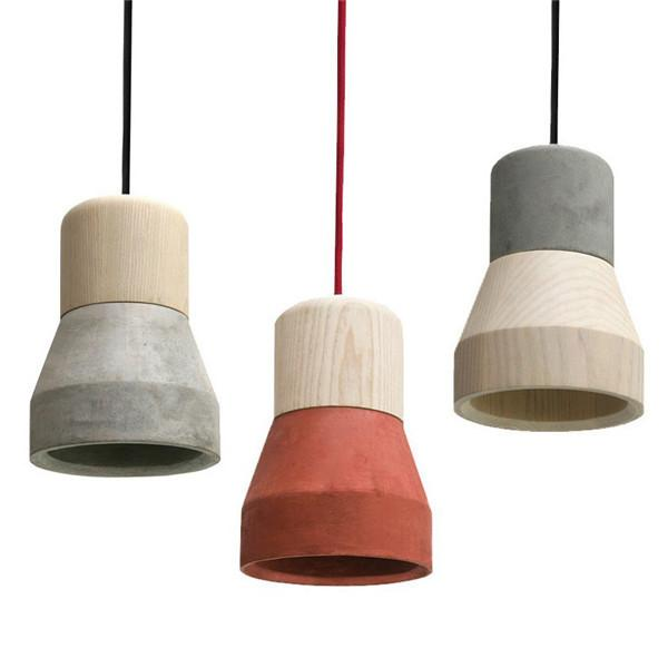 Concrete Wooden Minimalist Pendant Light