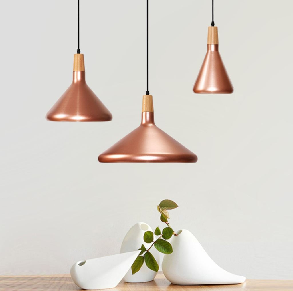 Kopar Minimalist Metal And Wood Pendant Ceiling Light