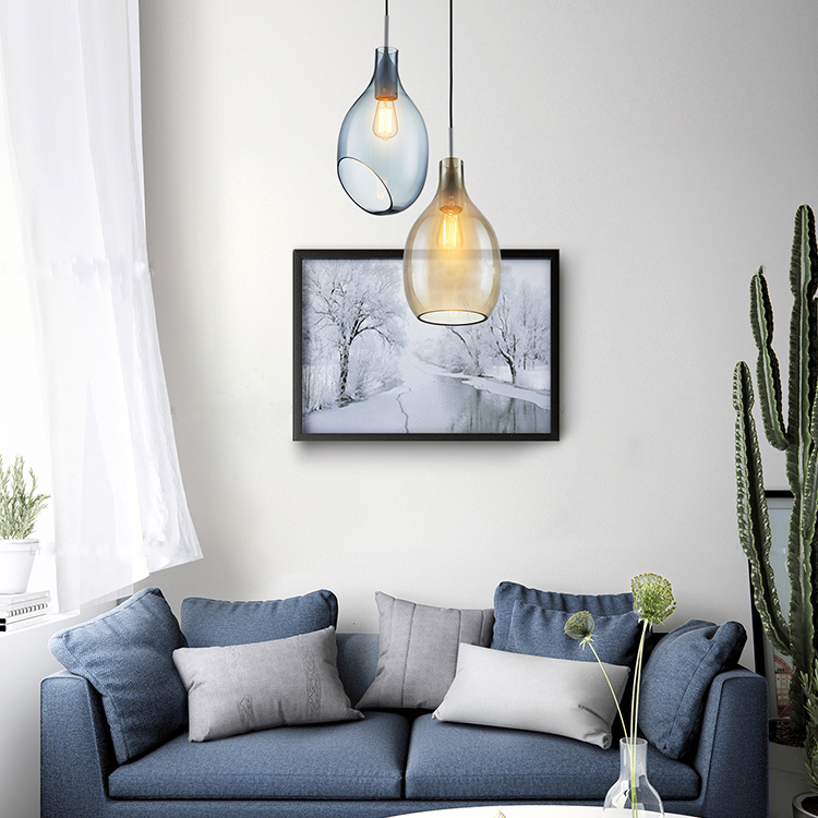 Hanging Light Glass Shade Amber/Light Blue Modern Style
