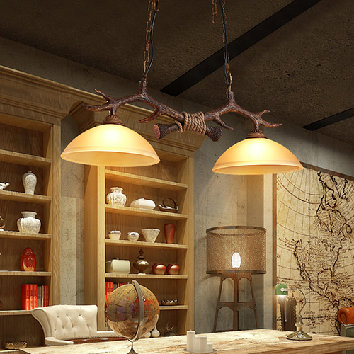 LED Pendant Light Glass Lampshade Antlers Nordic Style
