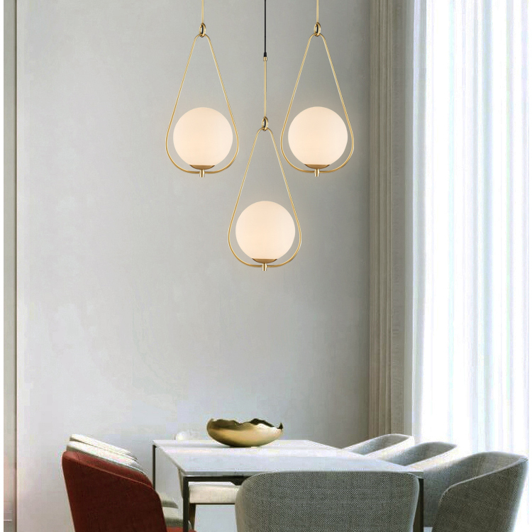 Pendant Light Milk Glass Ball Copper Shade Modern style