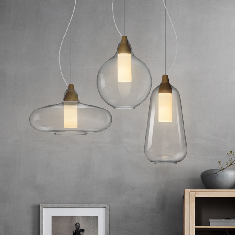 Hanging Glass Shade Wood Metal Pendant Light