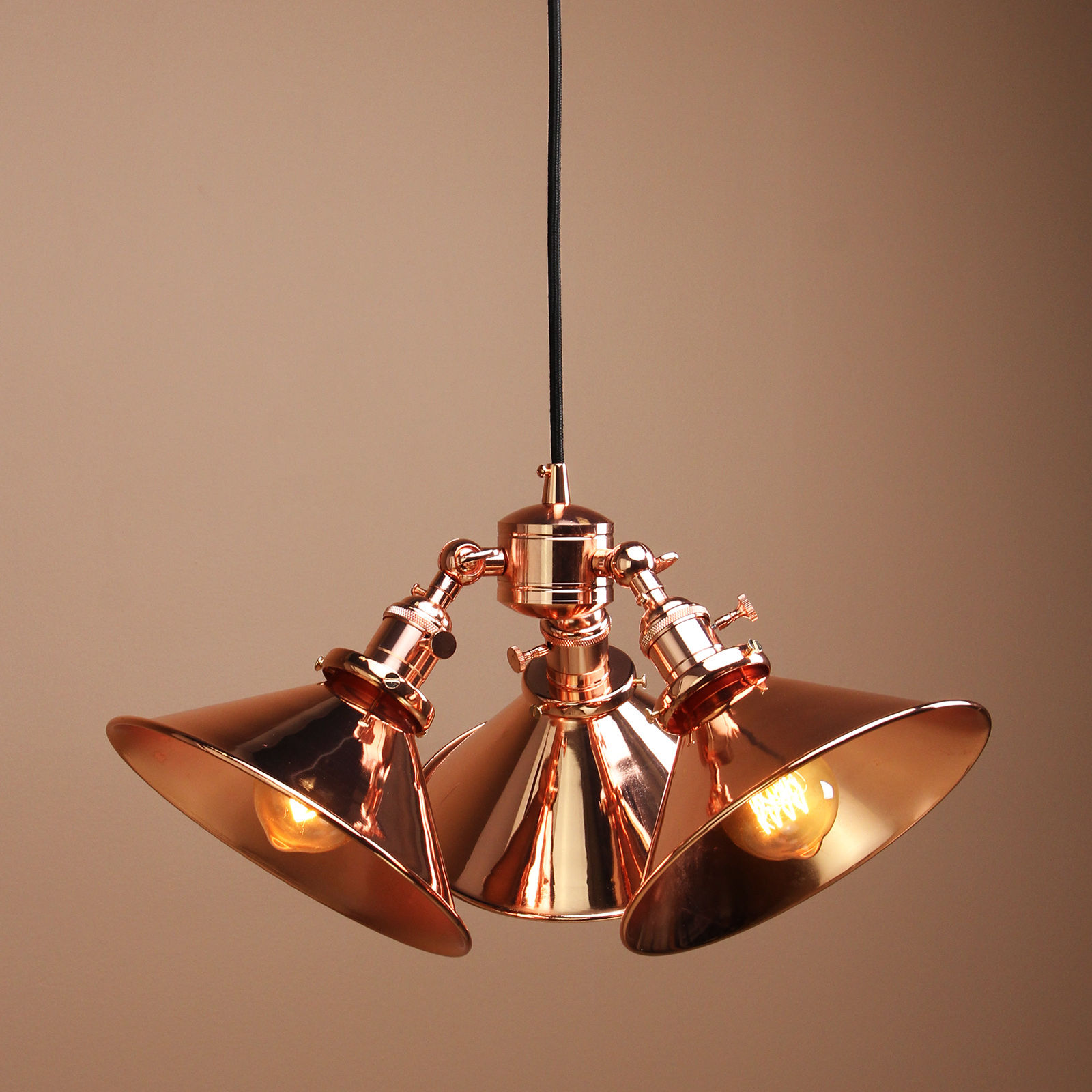 Three-headed Vintage Industrial Copper Hanging Pendant Shade Ceiling Lamp