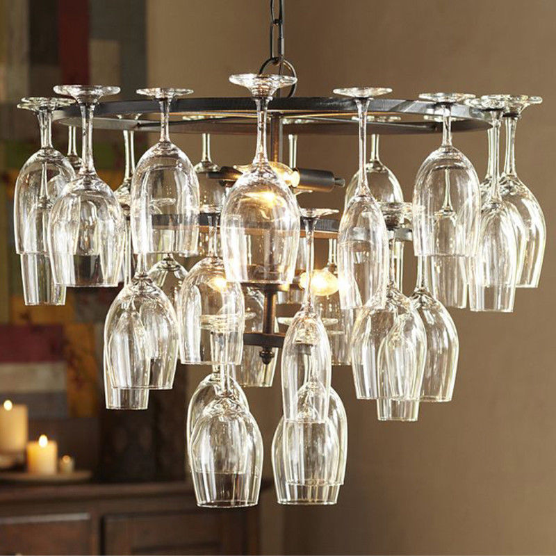 28pcs Glass Wine Cup Chandelier Ceiling Lamp Fixture Modern