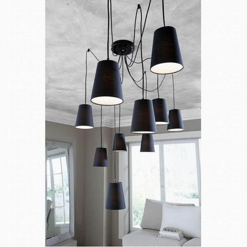 White/Black Spider Braided Pendant Lamp 10 heads Fabric Shades Ceiling Lighting