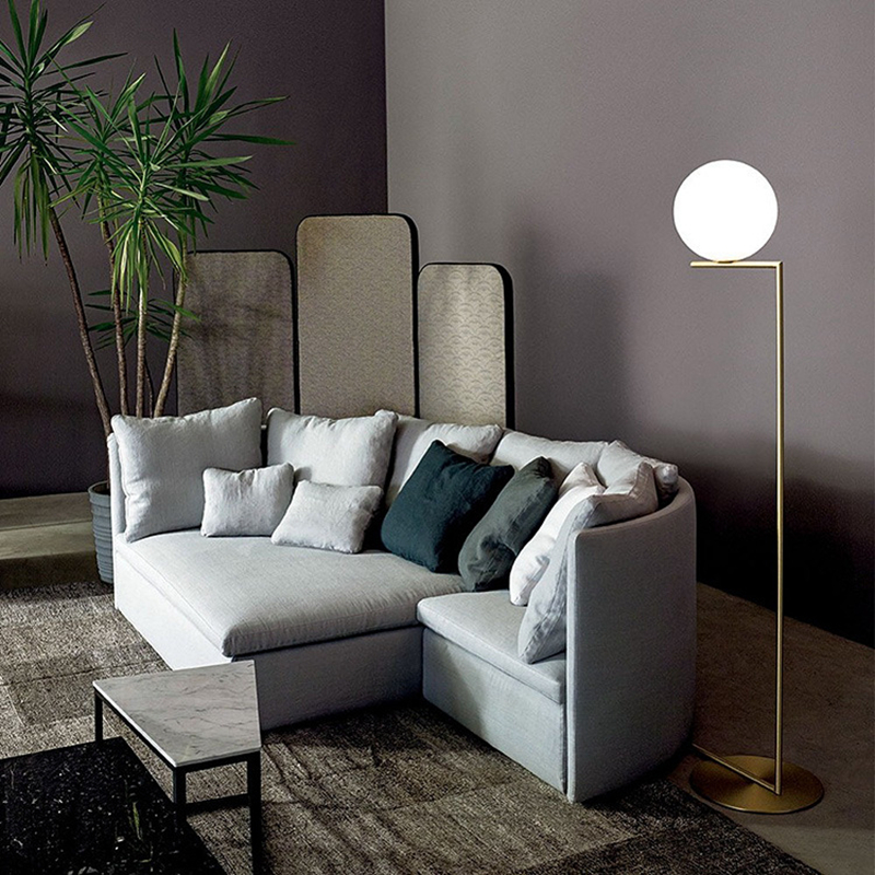 Floor Lamp Glass Ball Postmodern Inspired by Flos