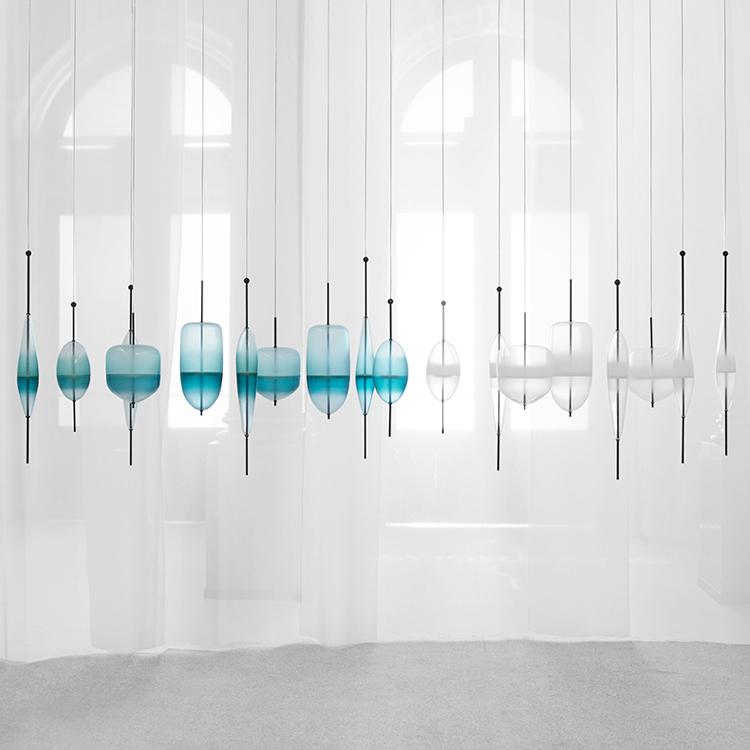 Blue gradient glass Simple Peaceful Pure light Italian Design