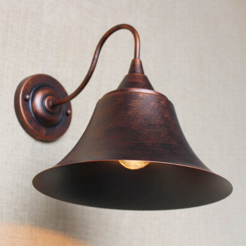Retro Industrial Antique Rust/Black Metal Shade Sconce Wall Lamp Bedside Light