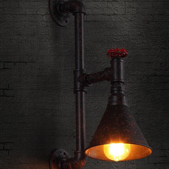 American Country Loft Vintage Industrial Iron Water Pipe Wall Lamp Light Sconce