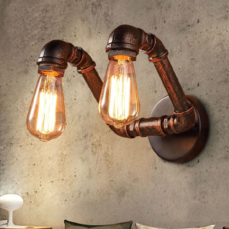 2-Lights Retro Iron Industrial Water Pipe Vintage Loft Black Wall Lamp Sconce Fixture