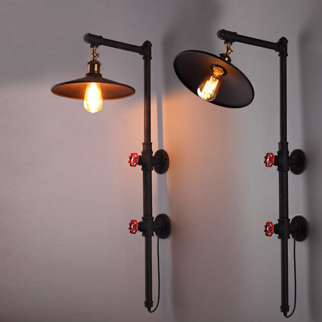 Loft Vintage Reminisced Coffee Water Pipe Balcony Lights Wall Lamp