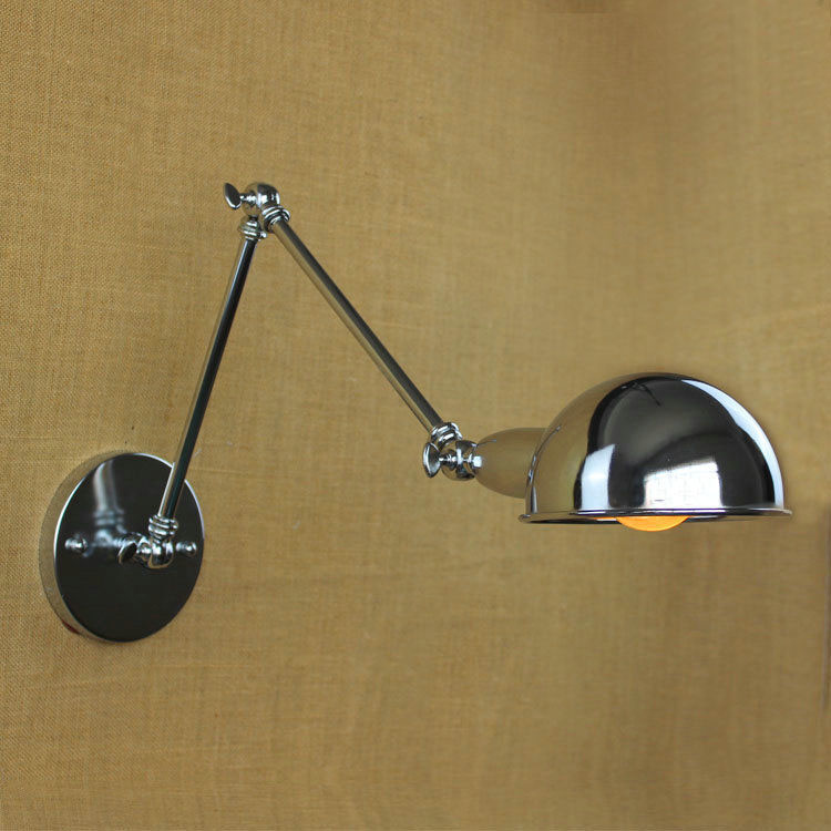 Loft Retro Industrial Swing Arm Chrome Wall Lamp Fixture